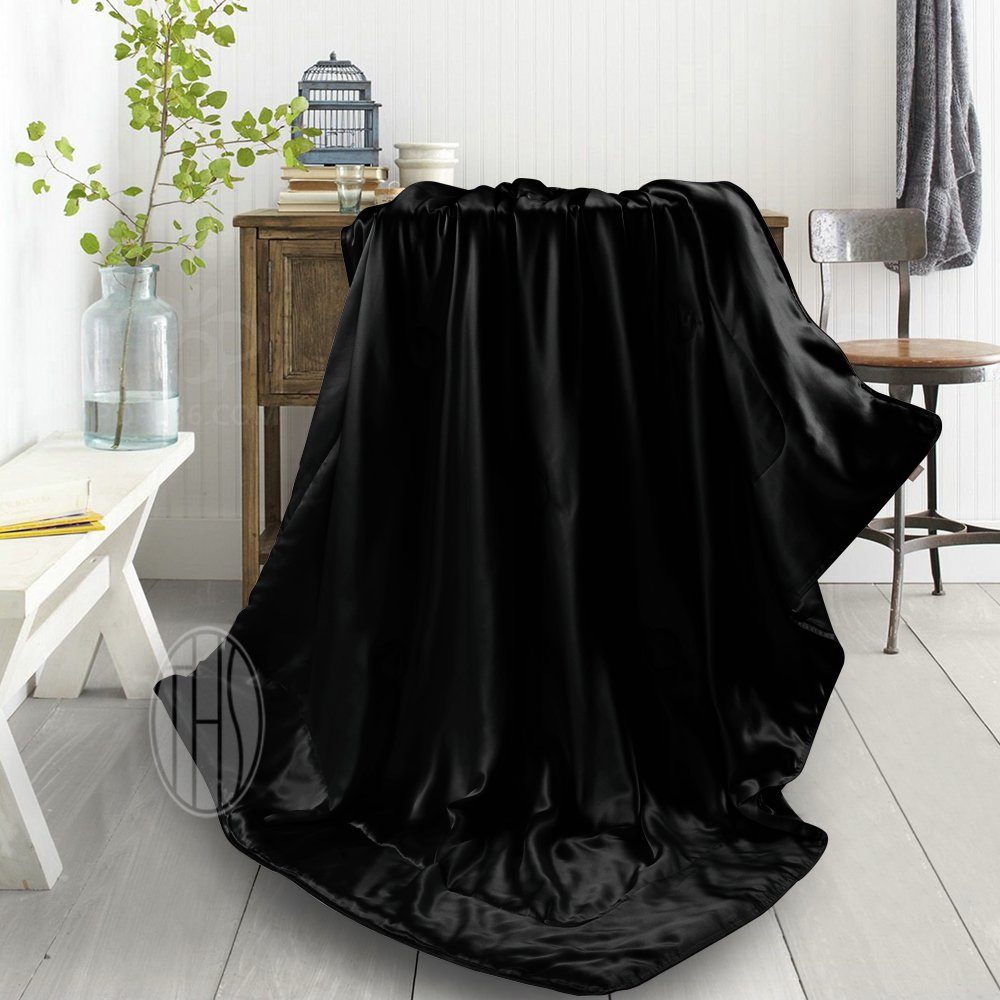 100 Mulberry Silk Throw Blanket Comforter Blankets Black