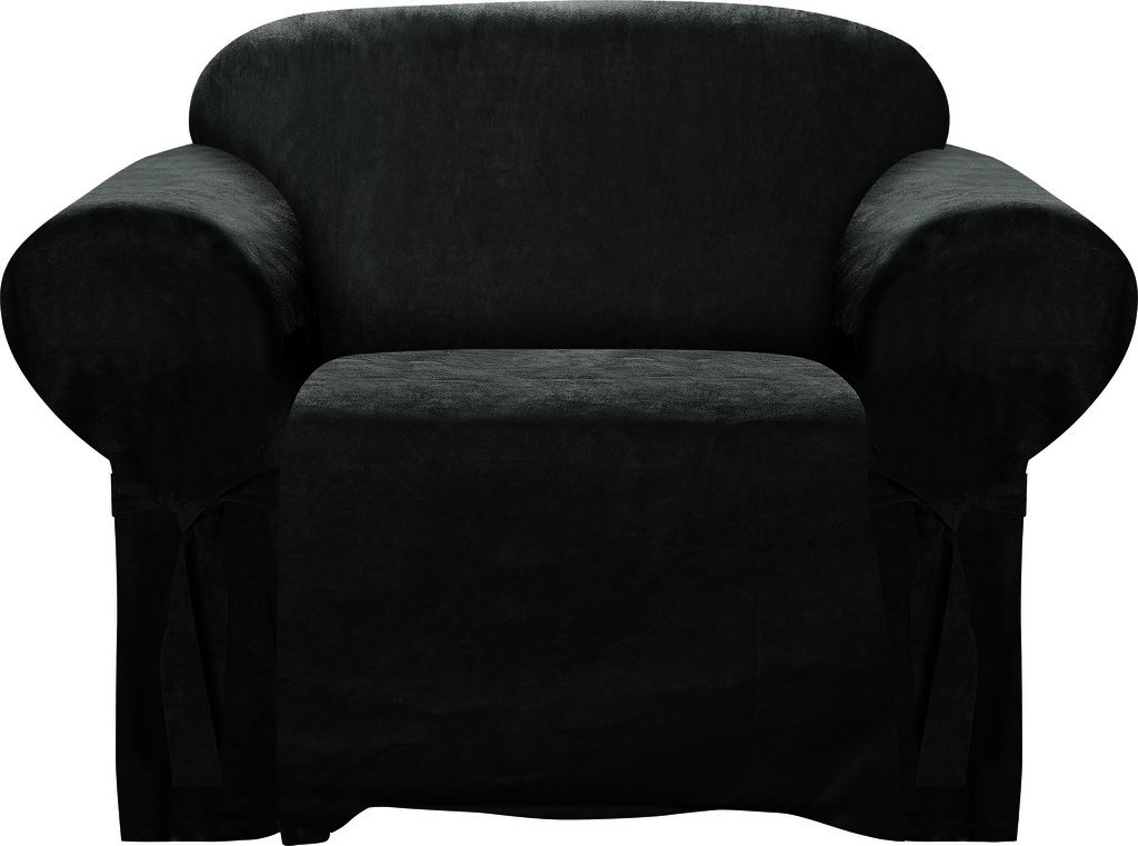 Armchair Slipcover Black Color Soft Micro Suede with Elastic Band Under Seat Cushion Chair Furniture Cover
