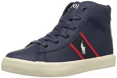 f46b25cedd3bb Image Unavailable. Image not available for. Color: Polo Ralph Lauren Kids  Boys' Geoff MID Sneaker, Navy/red ...