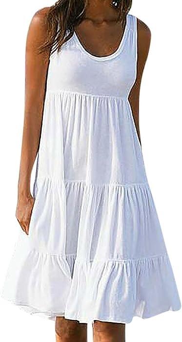 Damenmode Ärmellos Übergröße Gestreift Party Cocktail Sommer Strandkleid Kleider