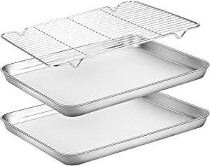 Baking Sheets 2 Pieces with A Rack, HKJ Chef Cookie Sheets and Nonstick Cooling Rack & Stainless Steel Baking Pans & Toaster Oven Tray Pan, Rectangle Size 12.5 x 10 x 1 inch & Non Toxic