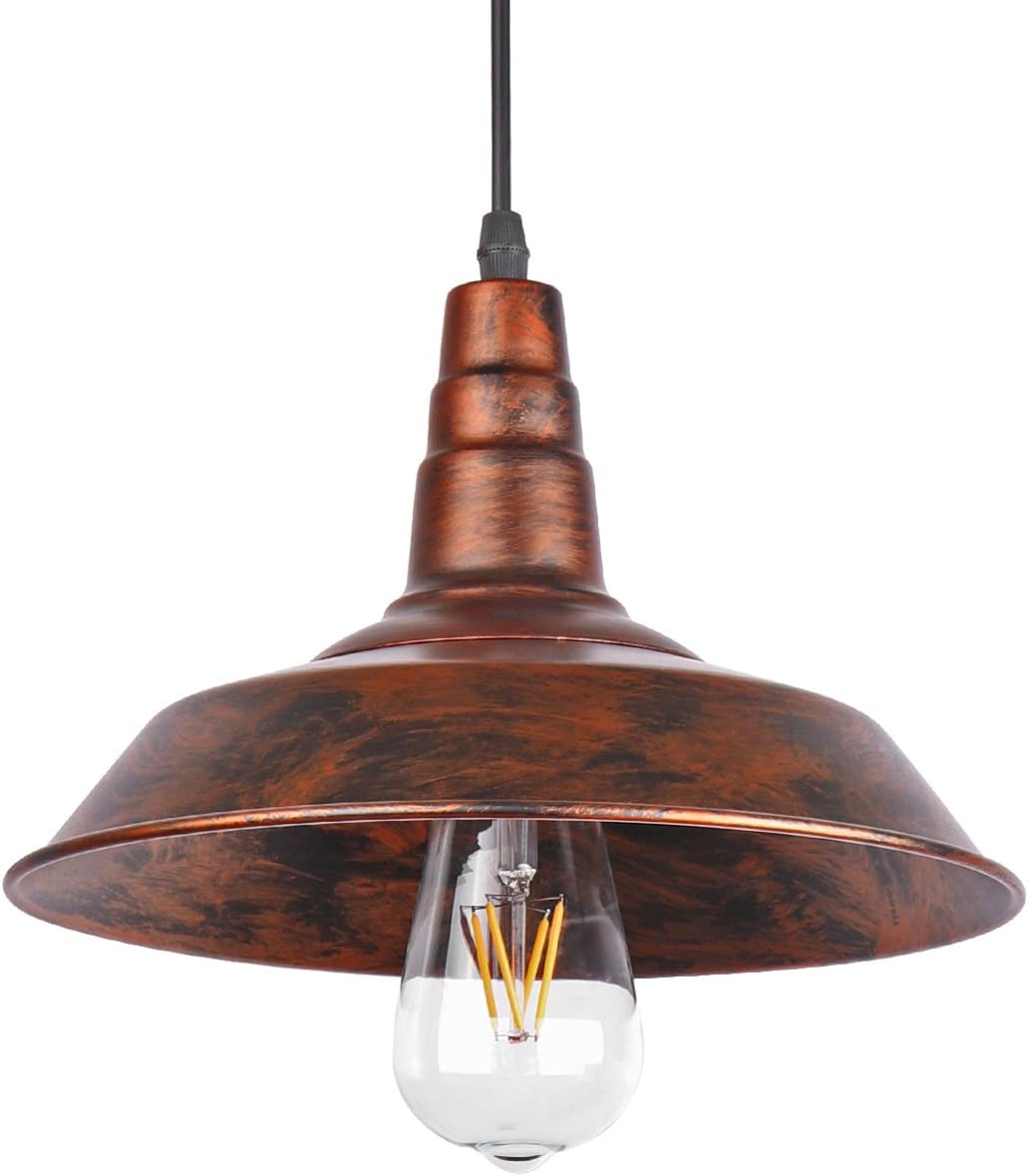 ONEVER Industrial Retro Vintage Loft Wall Coffee Bar Lighting Fixtrure Sconce Pendant Ceiling Lamp Fixtures Light Shades for E27 Edison Bulbs Brown, bulb is not included
