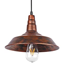 ONEVER ndustrial Retro Vintage Loft Wall Coffee Bar Lighting Fixtrure Sconce Pendant Ceiling Lamp Fixtures Light Shades for E27 Edison Bulbs(Brown, bulb is not included)