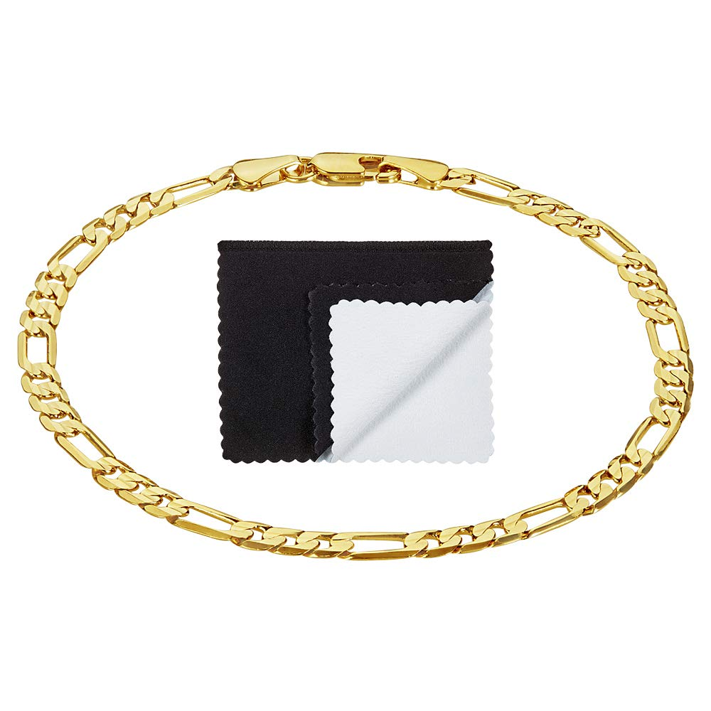 The Bling Factory 4mm 14k Gold Plated Figaro Bracelet, 7'' + Microfiber Jewelry Polishing Cloth