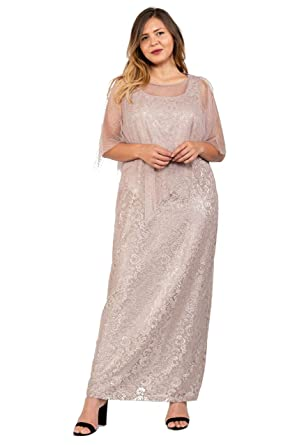 a061549d40 Ignite Evenings Long Mother of The Bride Plus Size Cape Dress at Amazon  Women s Clothing store