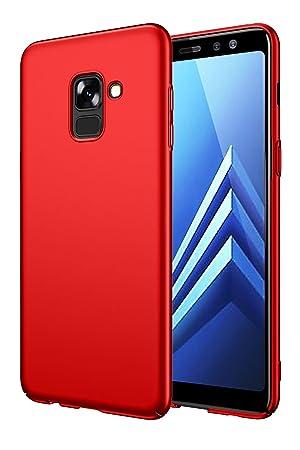EIISSION Funda Compatible con Samsung Galaxy A8 2018 Funda,Carcasa ToughShell Funda táctil Funda Mate Funda Duro y Flexible Carcasa (Rojo)