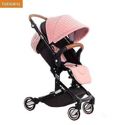 Carrito de bebé ligero, portátil, de alta intensidad, plegable, rosa