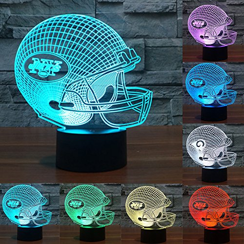 Football Cap Team Logo 3D Lamp Table NightLight 7 Color Change Football LED Desk Light Touch Multicolored USB Power As Home Decoration Lights Tractor for Boys Kids (Touch) (New York Jets)