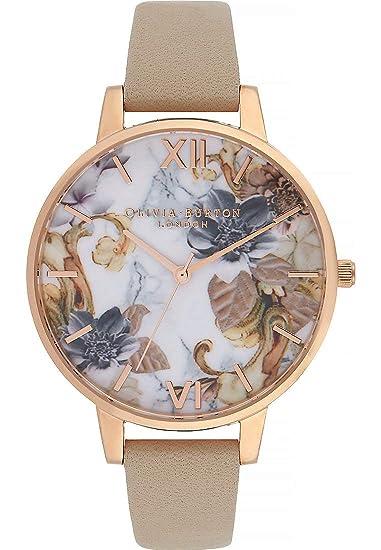 Olivia Burton Reloj de Pulsera analógico Cuarzo One Size, Color Blanco, Beige
