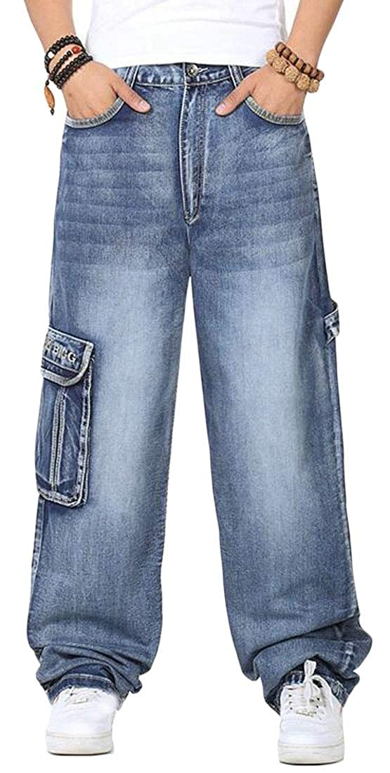 WAWAYA Mens Plus Size Multi-Pockets Rugged Straight Leg Cargo Denim Pants Jeans