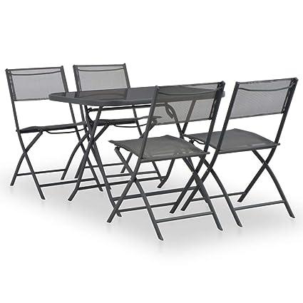 Festnight Conjunto de Muebles Plegables Muebles Exterior de Jardín Terraza Exterior Mesa y Sillas Acero y Textileno Gris 5 pzs