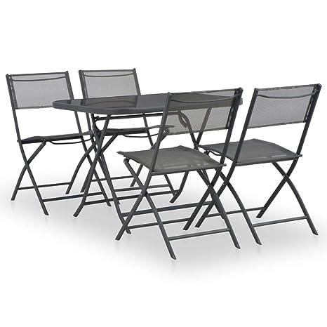 Fesjoy Conjunto de Muebles de jardín Mesa de Comedor Floding ...