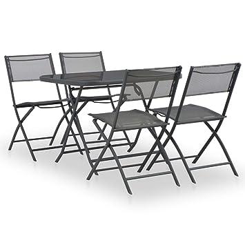 vidaXL Set Muebles Comedor Plegable Exterior 5 Pzs Acero ...