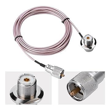 Zerone Cable de extensión de antena coaxial UHF PL-259 macho a hembra para antena