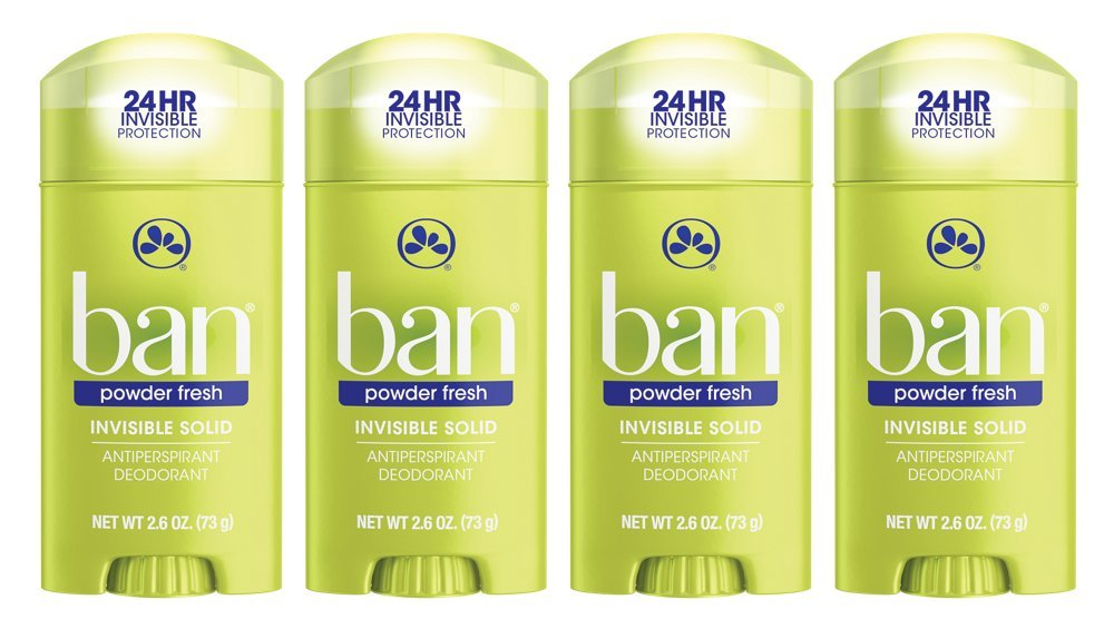 Ban Antiperspirant Deodorant, Invisible Solid, Powder Fresh, 2.6-Ounce Bottles (Pack of 4)