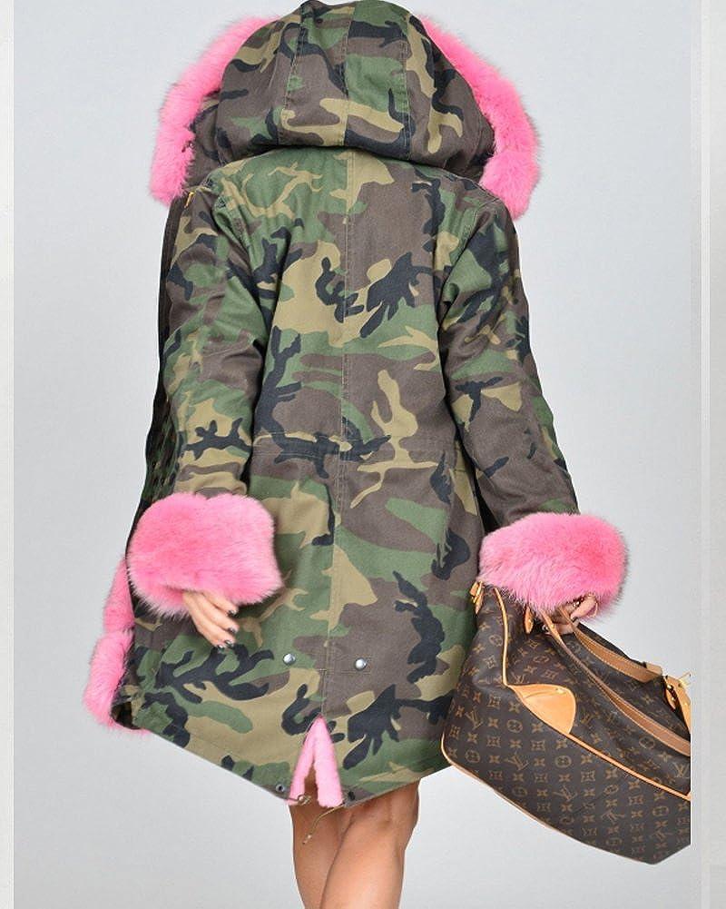 Aofur Donna Cappotto invernale Giacca lunga moda camuffare Militare Soprabito Parka in pelliccia sintetica Taglia Grossa S-XXXL