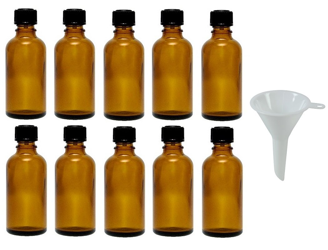 Viva Haushaltswaren - 10 tropffl Ash 50 ML/Farmacia Botellas con tropfei nsatz en marrón Cristal, Incluye Embudo: Amazon.es: Hogar