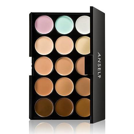 Anself 15 colores Paleta de correctores para cara ojos crema facial camuflaje de maquillaje cosmético de tono de la tierra