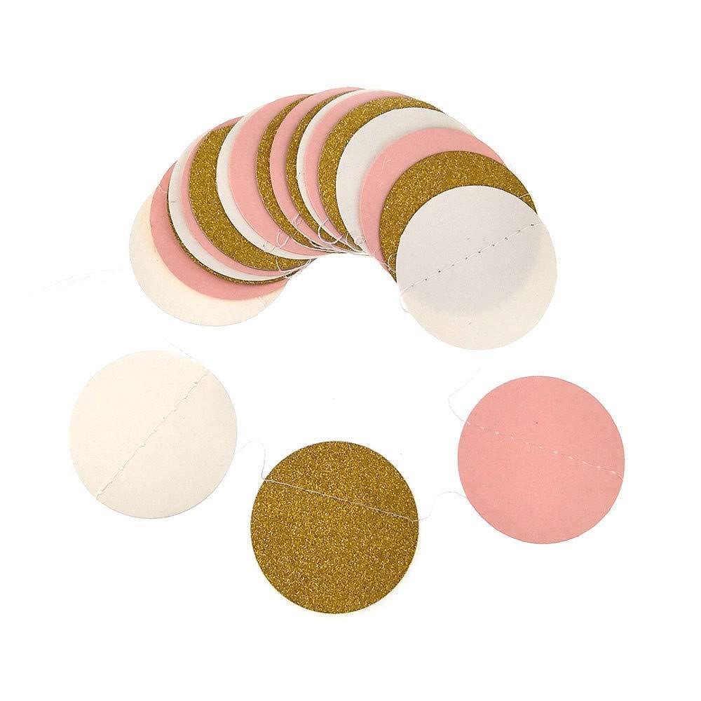 Euone  Garland, Glitter Circle Polka Dots Garland Banner Bunting Party Decor Pink White and Gold (K)
