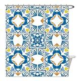 Liguo88 Custom Waterproof Bathroom Shower Curtain Polyester Traditional House Decor Tunisian Mosaic with Azulojo Spanish Influence Authentic Retro Islamic Blue Decorative bathroom