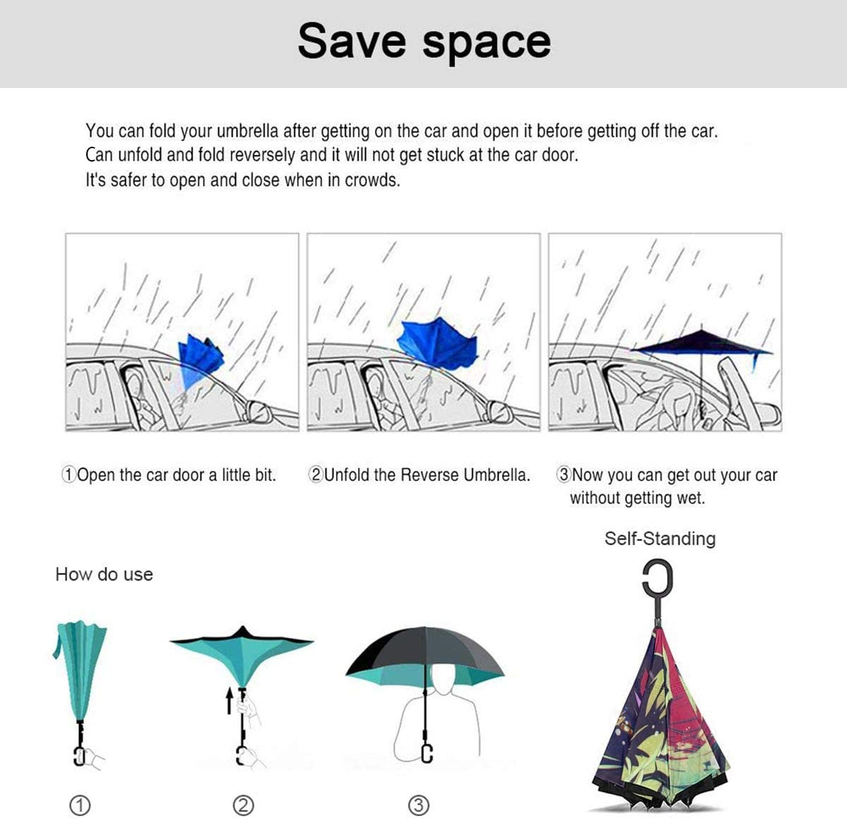 Windproof And Rainproof Double Folding Inverted Umbrella With C-Shaped Handle UV Protection Inverted Folding Umbrellas Cartoon Anime JoJos Bizarre Adventure Car Reverse Umbrella