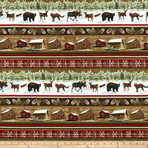 Henry Glass Rustic Charm Flannel Cabin & Forest Animal Stripe Fabric, Multicolor, Fabric By The Yard (By Fabric Rustic Yard The)