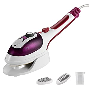 [Upgraded Version]Professional Handheld Garment Steamers, Steam Iron, Portable Iron, Iron with steamer, Fast Heat-up Powerful Iron Steamer with Ceramic Soleplate for Home and Travel, Purple