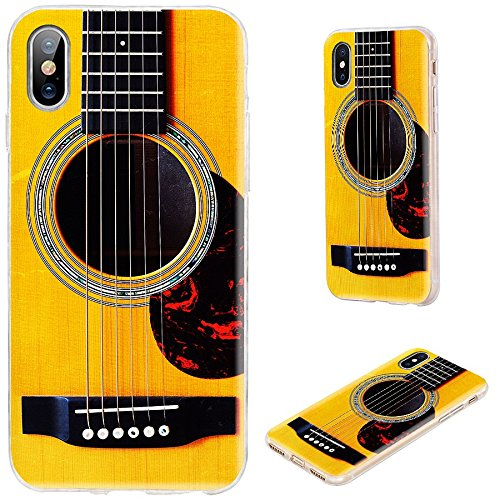 iPhone Xs Max Case,VoMotec Shockproof Slim Flexible Soft TPU 360 Full Protective Clear Thin Phone Cover Cases with Art Design for iPhone Xs Max 6.5 Inch 2018,Funny Yellow Acoustic Guitar Music (Pretty Guitar Case)