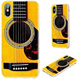 iPhone X Case Designer,iPhone 10 Case,VoMotec Shockproof Slim Flexible Soft TPU 360 Full Protective Cover Case with Design For Apple iPhone X,funny yellow Acoustic guitar