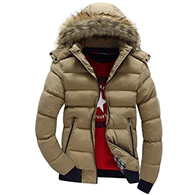7ad49320e5b Ifantasy Men s Winter Snow Puffer Coats Fur Hooded Thick Cotton-Padded  Quilted Warm Down Jacket