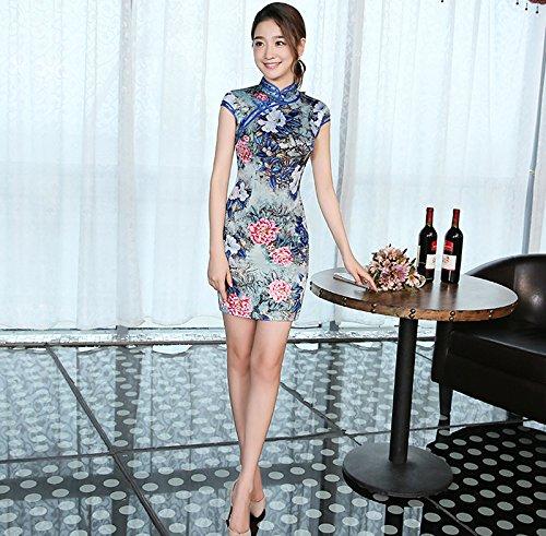 YueLian Damen Frauen Sommer Retro QiPao Cheongsam Kurze Etuikleid mit Blumen  Muster