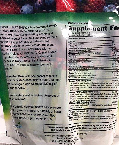 amazon com genesis pure powdered energy drink stick bag watermelon mix grocery gourmet food