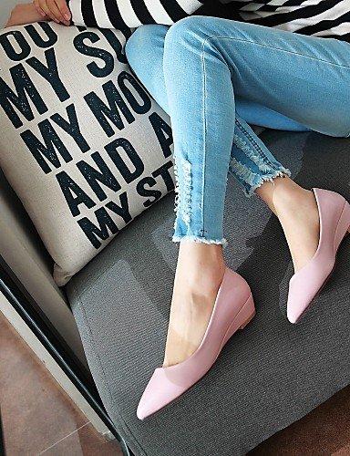 PDX rosa bajo aire sintética carrera libre casual blanco us5 eu35 pink Pisos al y verde oficina de tacón Toe punta negro piel zapatos cn34 uk3 mujer de RRwr70