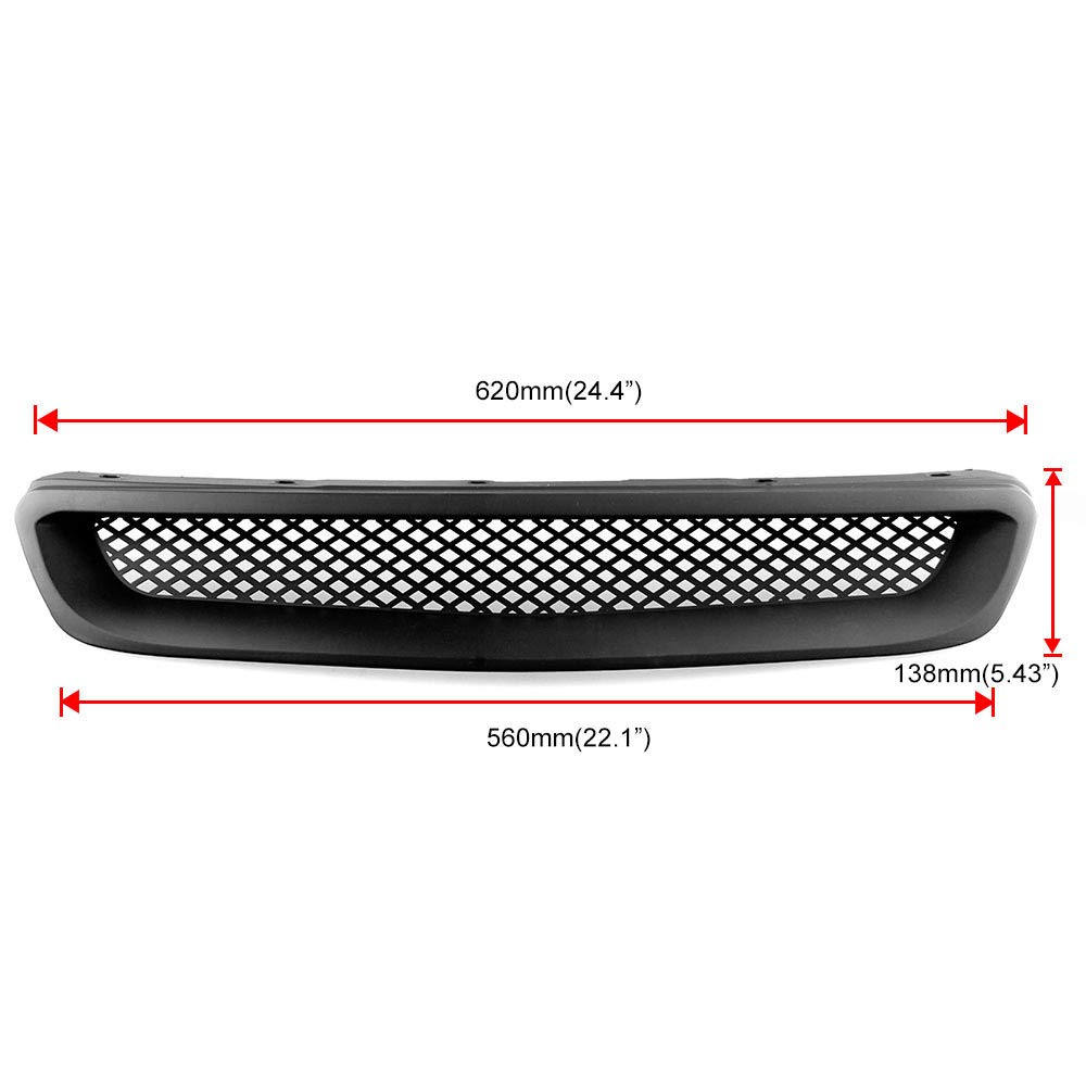 DishKooker For 1999-2000 Honda Civic JDM Type R Black Mesh ABS Front Hood Grille Grill black