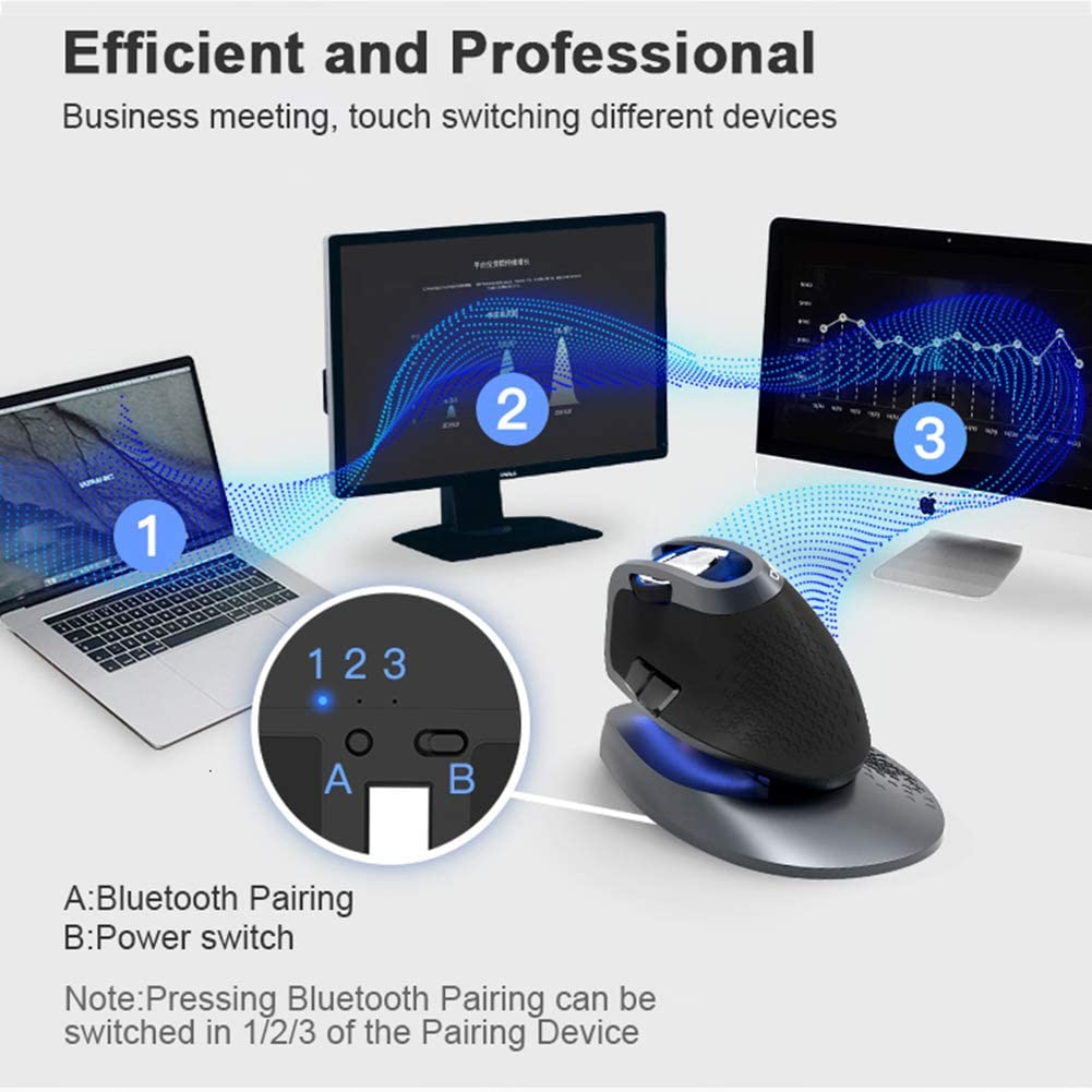 Aceyyk Ergonomic Vertical USB Optical Mice,2.4Ghz Wireless Bluetooth 3.0//4.0 Multi-Mode Mouse Rechargeable for Windowsxp 7 8 10 Mac Linux