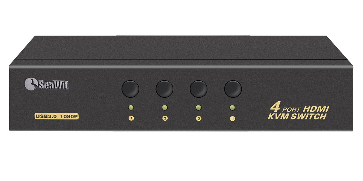 Sea Wit KVM Switch, HDMI KVM Switch 4 Port USB 2.0 Support HDCP EDID 1080P and Auto Scan for Windows, Linux and Mac