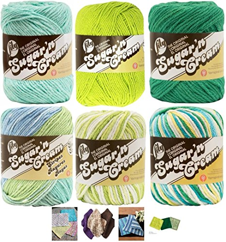 (Variety Assortment Lily Sugar'n Cream Yarn 100 Percent Cotton Solids and Ombres (6-Pack) Medium Number 4 Worsted Bundle with 4 Patterns (Asst 40))