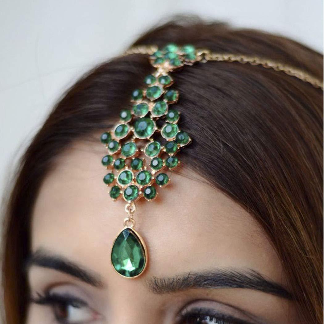 Swittyun Cha/îne de cheveux indienne verte Tikka Bijoux Boho Festival Egyptien Pendentif T/ête de Mang Forhead Headpiece Cheveux dor/és pour femmes et filles