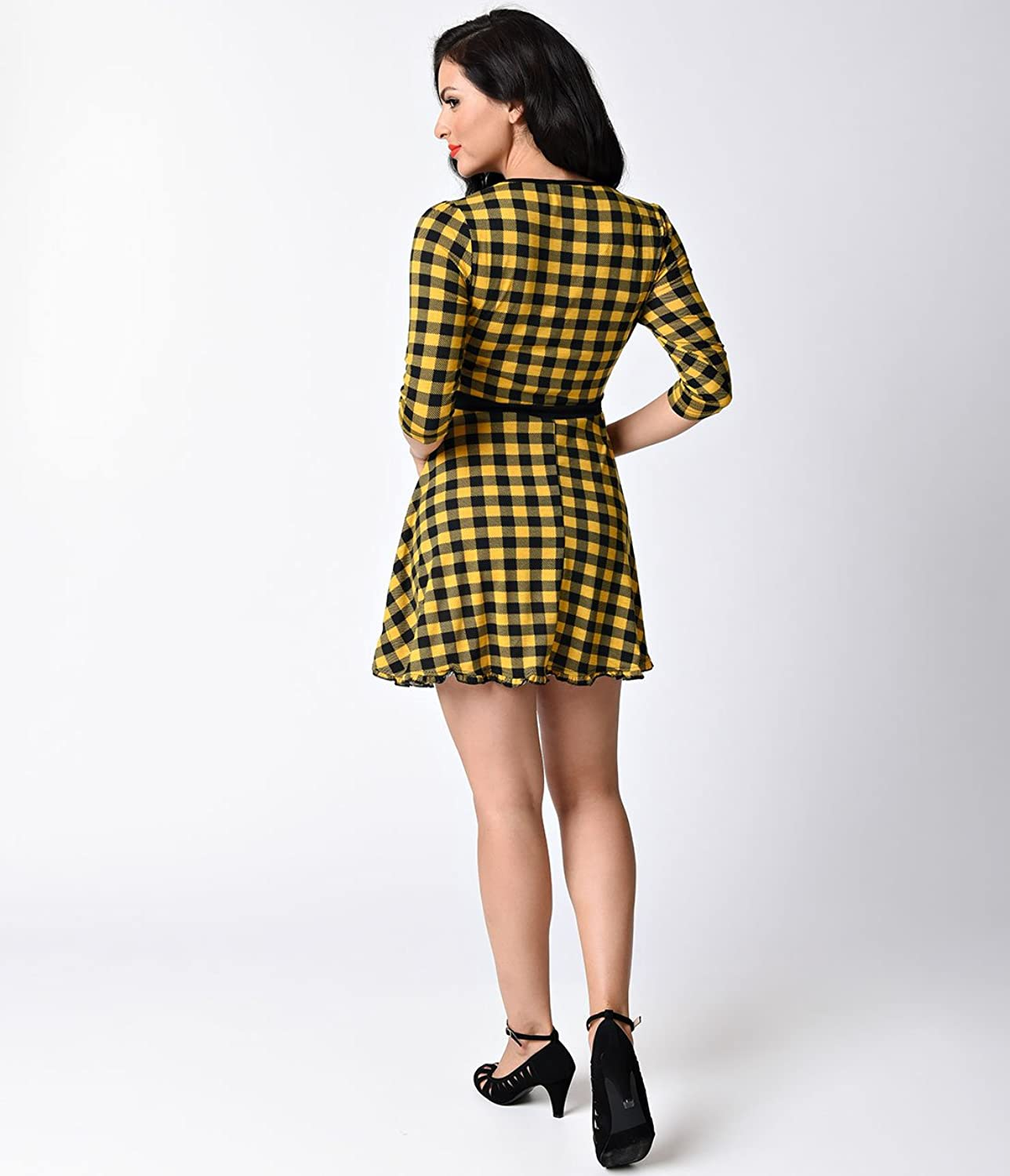 1960s Style Yellow & Black Gingham London Patsy Skater Dress
