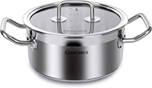 6 Quart Stock pot with Lid - HEIHOX Chef's Classic Stainless Steel Induction Base Sauce Pan Cooking Cookware, Silver Soup Pot, Multipurpose Use for Kitchen Restaurant, Dishwasher Safe