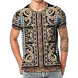 Winsummer Men's Funny 3D Print T-Shirt Short Sleeve Crew Neck T-Shirts Summer Casual Graphic Tees Black