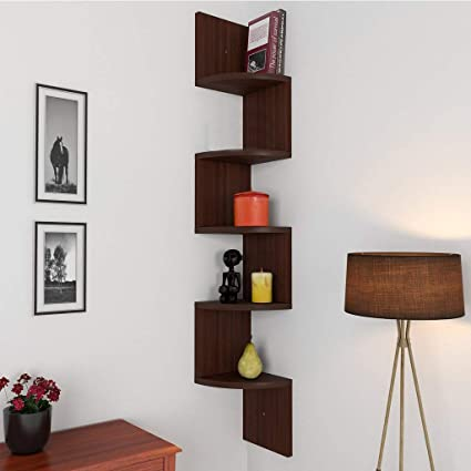 Santosha Decor Zigzag Corner Wall Mount Shelf Unit/Racks and Shelves,(Walnut Finish, Brown)