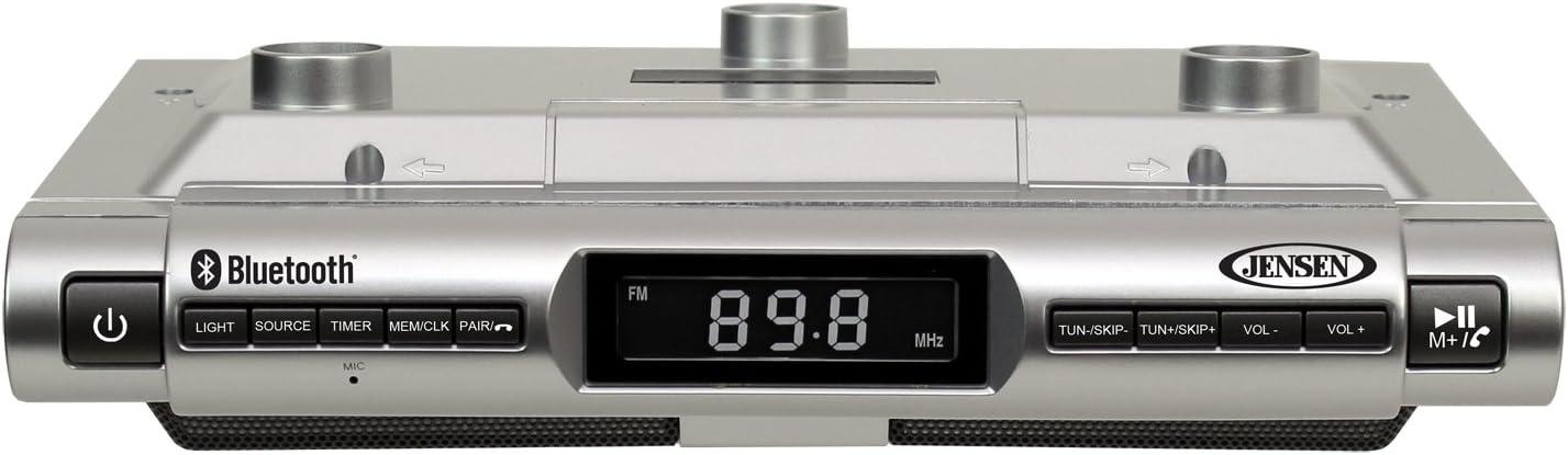 Jensen Bluetooth Under Cabinet Music System FM Kitchen Silver Aux Input SMPS-628