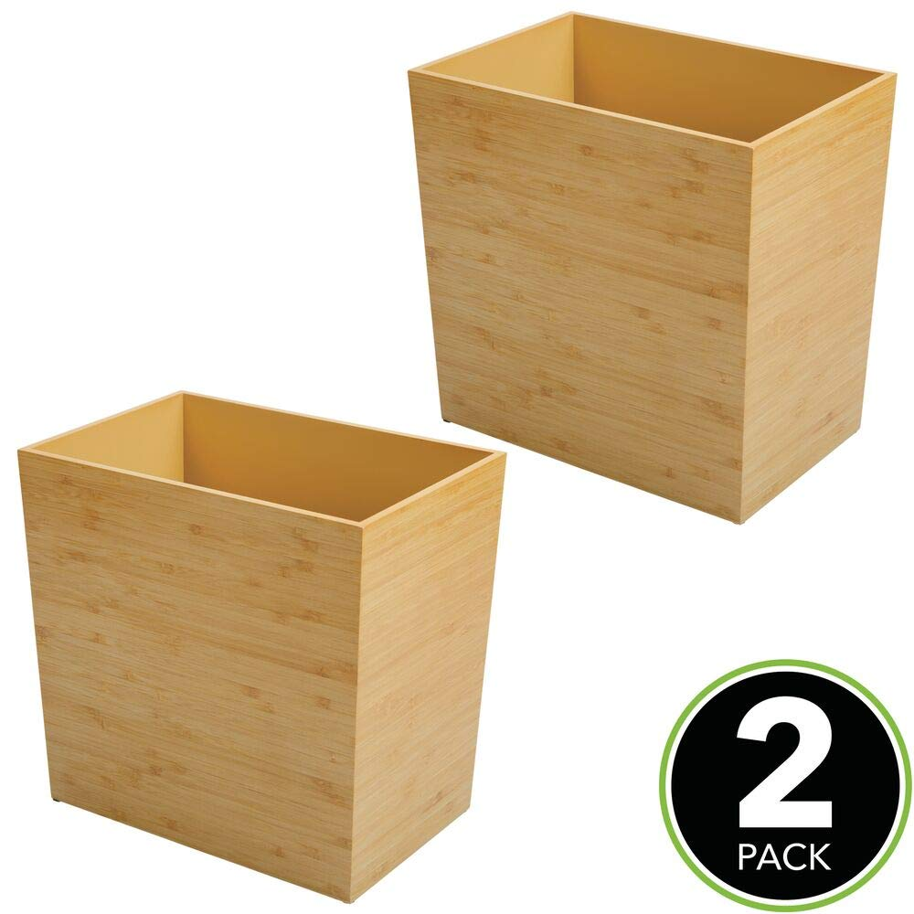 Amazon.com: mDesign - Papelera rectangular de madera ...