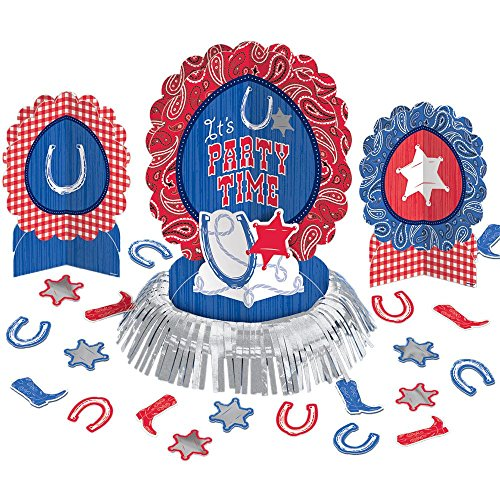 Amscan High Riding Western Party Table Decorating Kit (23 Piece), Silver, 13.7 x -
