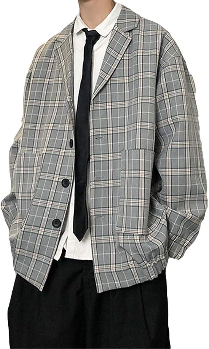 YACORESYA テーラードジャケット メンズ チェック柄 長袖シャツ カジュアル 秋 春 ショート丈 スーツジャケット チェックジャケット ゆったり お洒落アウター S~2XL 2カラー