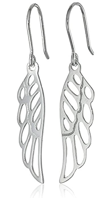 858e7c44d Image Unavailable. Image not available for. Color: Sterling Silver Angel  Wing Drop Earrings, Elegant ...