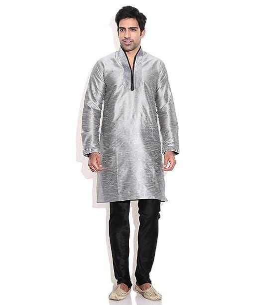 Hombres de seda mezcla gris hineck bordada Kurta Churidar plateado plata 48