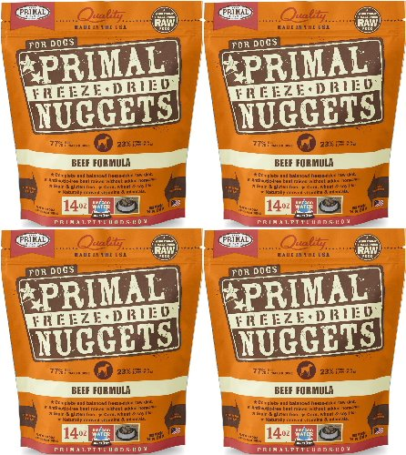 Primal Freeze-Dried Nuggets Beef Formula for Dogs 56oz (4 x 14oz) by Primal