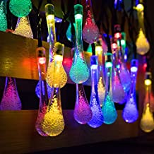 Easternstar Solar Outdoor String Lights,20ft 30 LED Fairy Lights Water Drop Rope Style Waterproof Christmas Lights for Garden Patio Lawn Fence Bedroom Party Wedding (Multi Color)